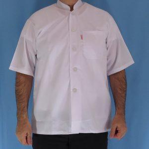 1 2 300x300 - پیراهن سفید یقه چرکتاب مردانه آستین کوتاه