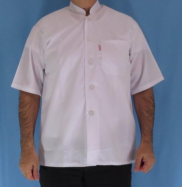 1 2 600x615 - پیراهن سفید یقه چرکتاب مردانه آستین کوتاه