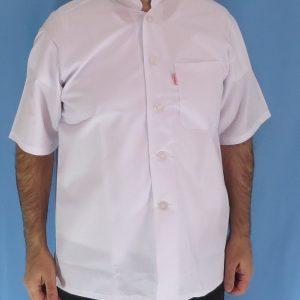 2 2 300x300 - پیراهن سفید یقه چرکتاب مردانه آستین کوتاه