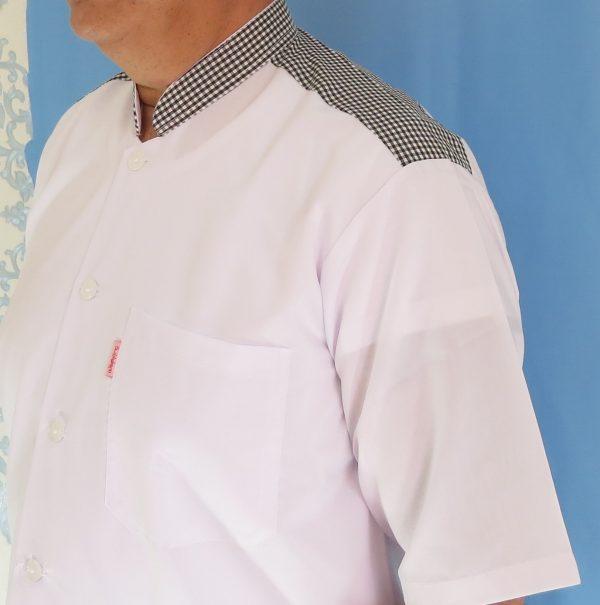 2 3 600x605 - پیراهن سفید مردانه یقه فرنچ مدل چهارخانه