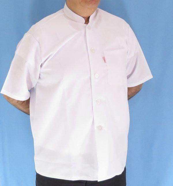 3 2 600x642 - پیراهن سفید یقه چرکتاب مردانه آستین کوتاه