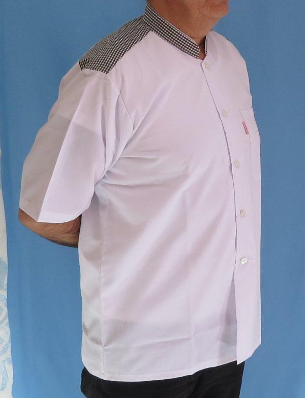 3 3 600x782 - پیراهن سفید مردانه یقه فرنچ مدل چهارخانه