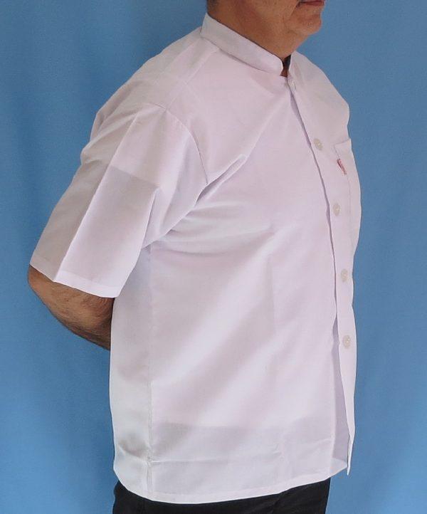 4 2 600x722 - پیراهن سفید یقه چرکتاب مردانه آستین کوتاه