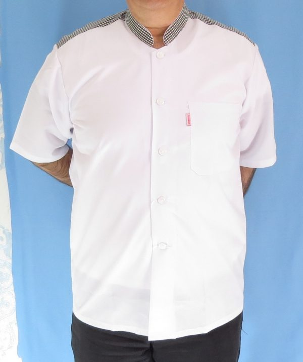 4 3 600x717 - پیراهن سفید مردانه یقه فرنچ مدل چهارخانه