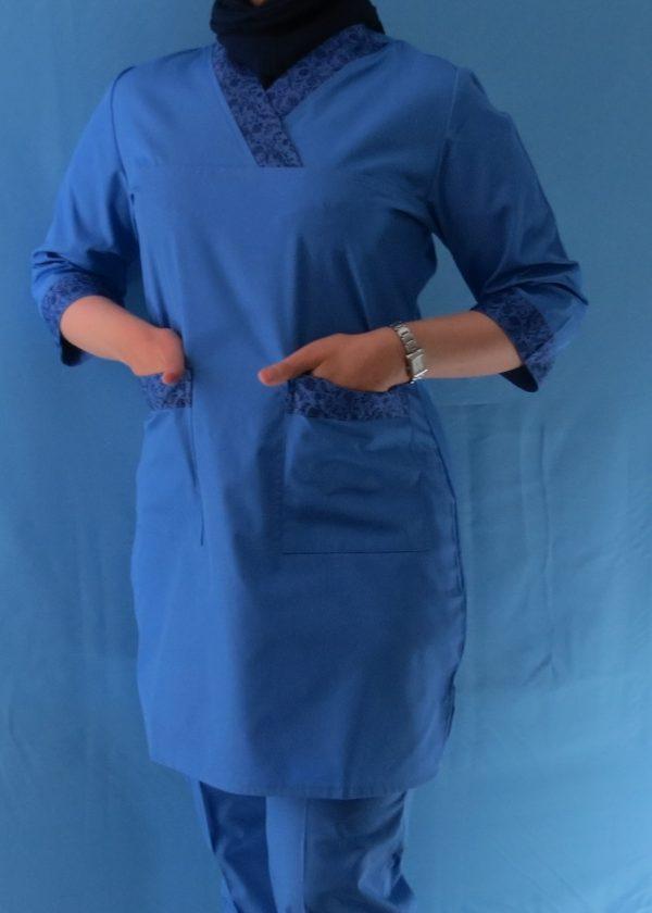 طرح دار آبی2 600x840 - اسکراب آبی گلدار زنانه