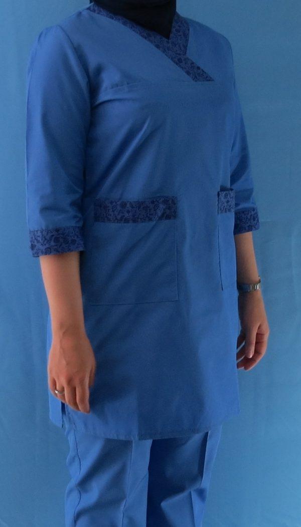 طرح دار آبی5 600x1052 - اسکراب آبی گلدار زنانه