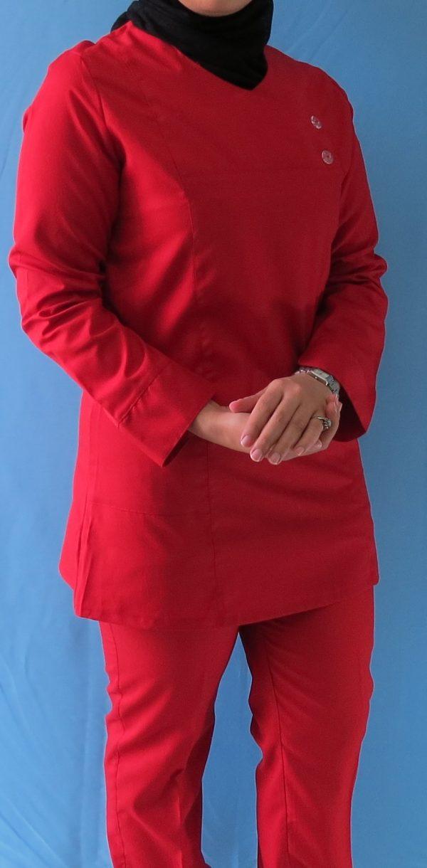 قرمز1 600x1220 - اسکراب تونیک شلوار قرمز