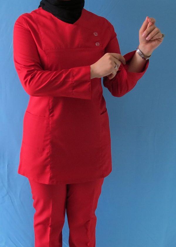 قرمز4 600x843 - اسکراب تونیک شلوار قرمز