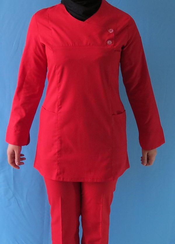 قرمز6 600x834 - اسکراب تونیک شلوار قرمز