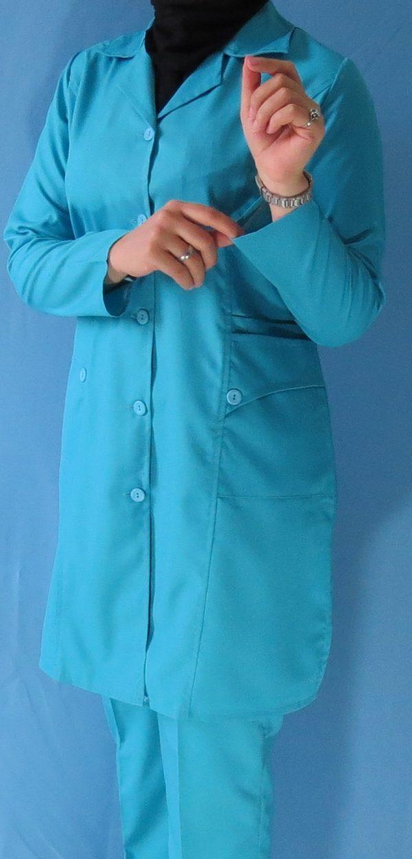مانتو شلوار فیروزه ای6 600x1249 - مانتو شلوار آبی فیروزه ای مدل سه جیب